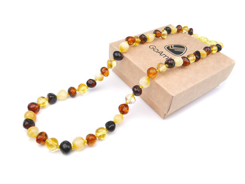 Amber teething necklace - multicoloured polished baroque beads