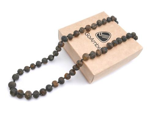 Raw grey amber teething necklace