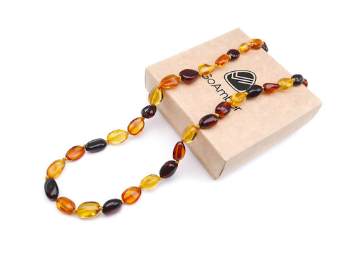 Amber teething necklace - multicoloured polished olive beads