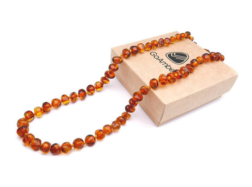 Amber teething necklace - luxury baroque cognac beads