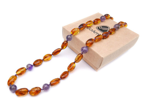 Cognac olive beads amber & amethyst teething, reflux & colic necklace