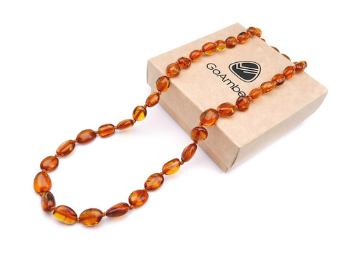 Amber teething necklace - rounded cognac polished beads
