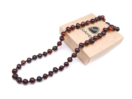 Rare dark cherry baroque beads amber teething & colic necklace