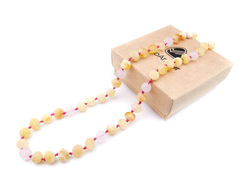 Maximum strength raw unpolished beads amber & matte pink/rose quartz teething, reflux & colic necklace