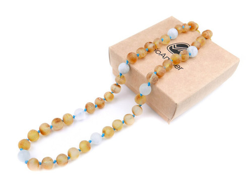 Maximum strength raw amber & matte aquamarine teething, reflux & colic necklace