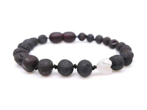 Black / dark cherry raw amber teething, reflux & colic bracelet / anklet with pearl heart bead