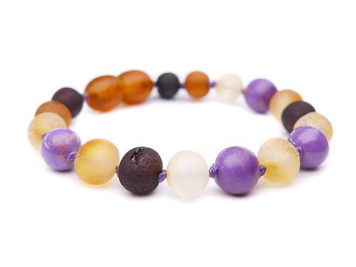 Maximum strength raw amber & purple phosphosiderite teething, reflux & colic anklet / bracelet