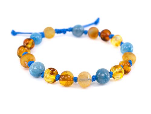 Adjustable amber teething & colic bracelet / anklet with blue aventurine