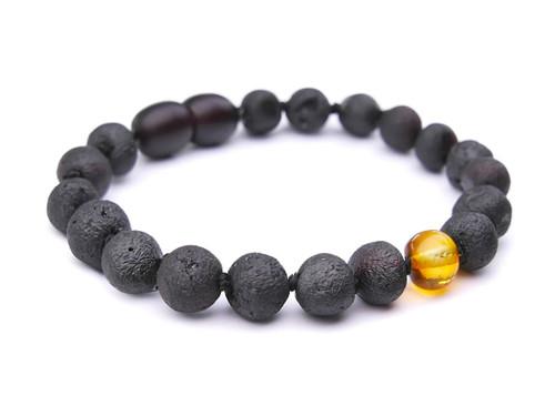 Black dark cherry amber teething bracelet