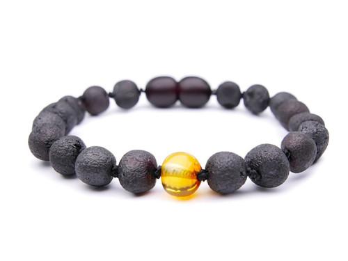 Maximum strength black / dark cherry raw amber teething, reflux & colic bracelet / anklet