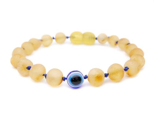 Evil eye raw amber teething bracelet