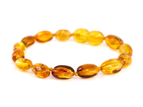 Amber teething bracelet or anklet - honey clear transparent beads