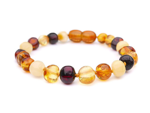 Amber teething anklet or bracelet - multicoloured baroque beads