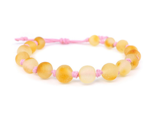 Pink amber teething bracelet adjustable
