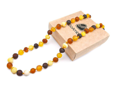Maximum strength multicoloured raw amber teething, reflux and colic necklace
