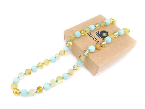 Maximum strength raw amber and blue matte amazonite, teething, reflux and colic necklace
