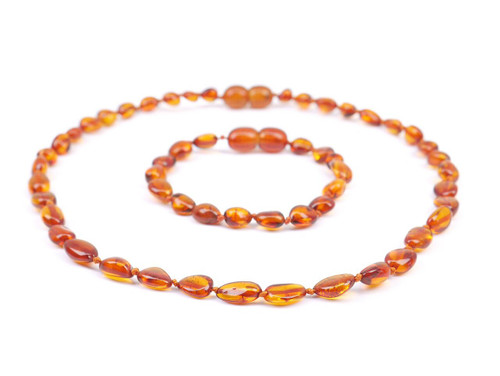 Amber teething set / cognac olive beads - teething amber necklace anklet