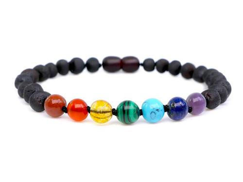 Chakra adult amber bracelet