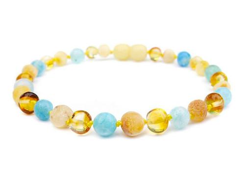 adult amber bracelet with blue hemimorphite