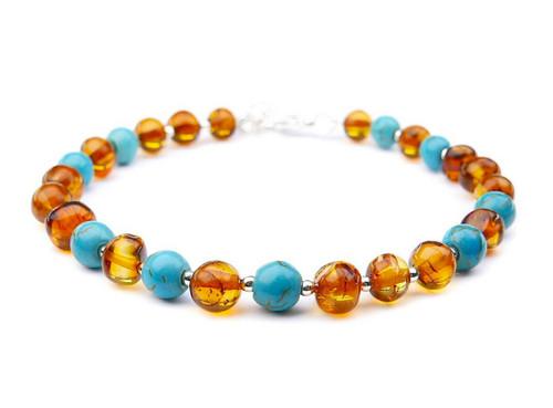 Turquoise adult amber bracelet