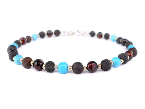 Healing amber bracelet with turquoise beads