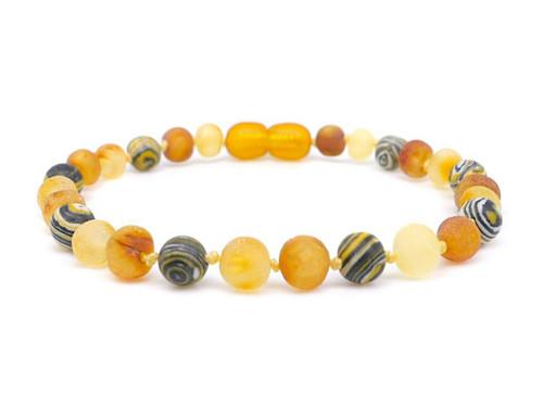 Malachite adult amber bracelet