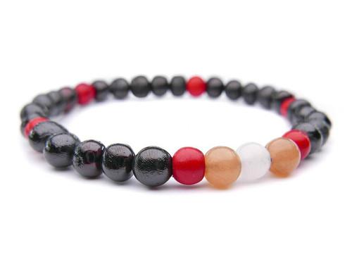 Dark cherry adult amber bracelet with sunstone moonstone