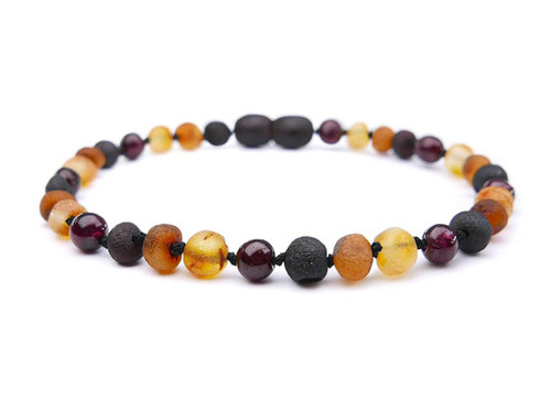 Adult amber bracelet with garnet beads