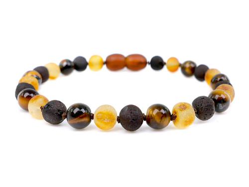Adult amber bracelet Tiger Eye
