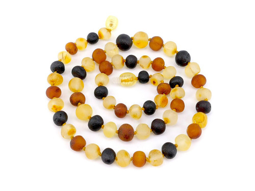 Multicoloured raw adult amber necklace