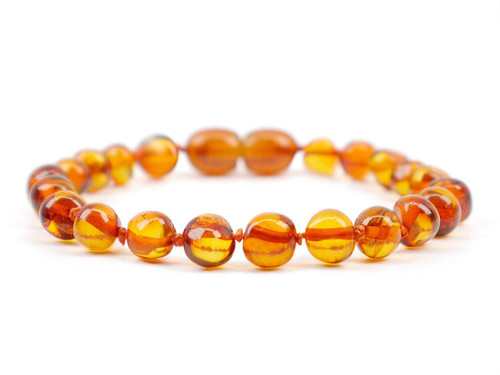 Amber teething anklet / bracelet - Cognac baroque beads
