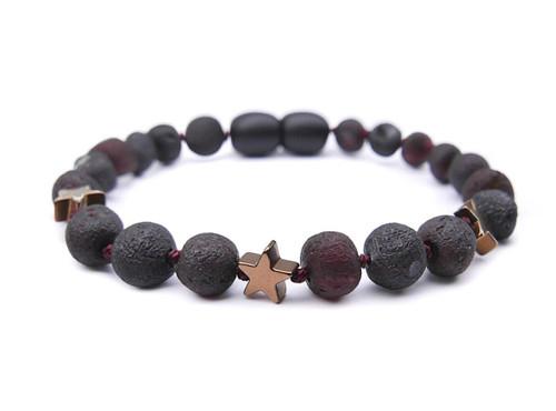 Maximum strength dark cherry raw amber & hematite beads teething, reflux & colic bracelet / anklet