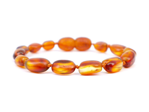 Express teething, reflux & colic relief - maximum strength cognac raw amber anklet / bracelet