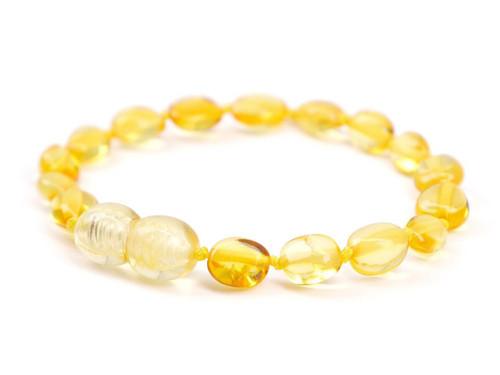 Lemon olive beads amber teething anklet / bracelet