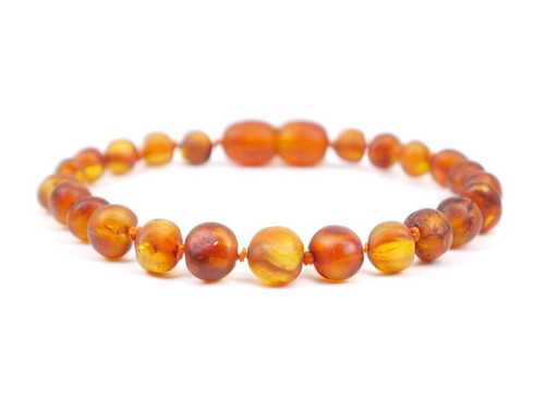 Maximum strength cognac raw amber teething and colic anklet / bracelet