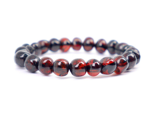 Stretch dark cherry amber teething anklet