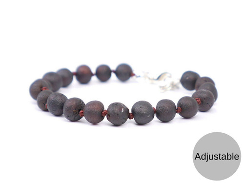 Adjustable raw dark cherry amber teething, reflux and colic anklet / bracelet