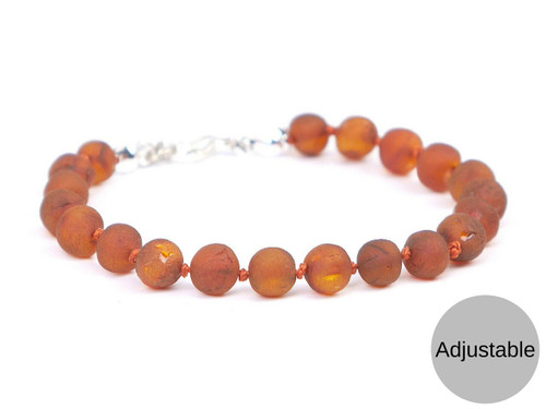 Adjustable Maximum strength raw caramel amber teething, reflux and colic anklet / bracelet