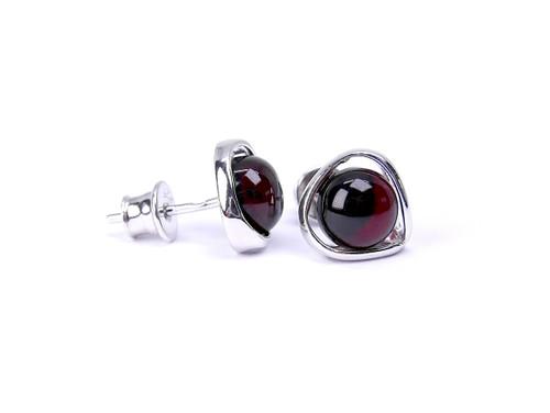 Rounded dark cherry amber stud silver earrings