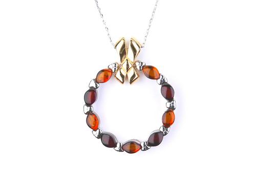 Cognac & cherry Baltic amber silver pendant