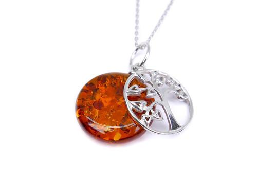Cognac Baltic amber tree of life silver pendant