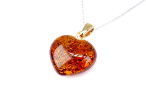 Baltic amber heart pendant / gold plated