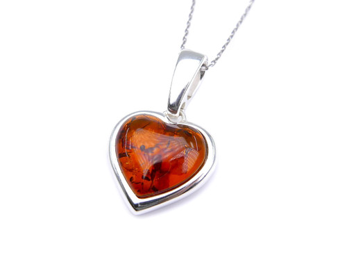 Baltic amber Heart pendant mounted in sterling silver