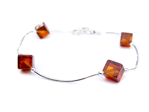 Baltic amber cube bracelet in sterling silver