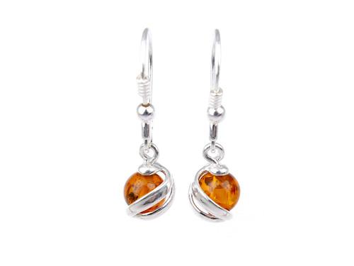 Baltic amber spheres dangle earrings in sterling silver