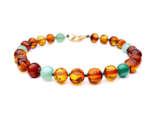 Adult amber bracelet - polished cognac  & turquoise beads