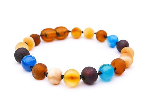 Blue agate amber teething bracelet