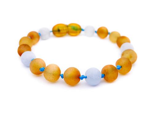 Raw amber & matte aquamarine teething, reflux & colic anklet / bracelet
