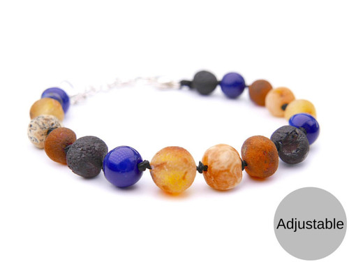 Adjustable maximum strength raw amber & blue agate teething, reflux & colic anklet / bracelet