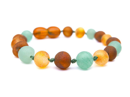 Maximum strength raw amber & matte green agate teething, reflux & colic anklet / bracelet